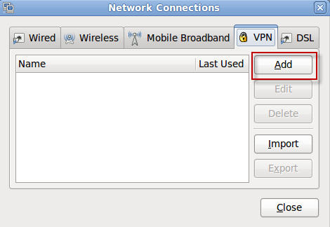 Network Connections - Add VPN
