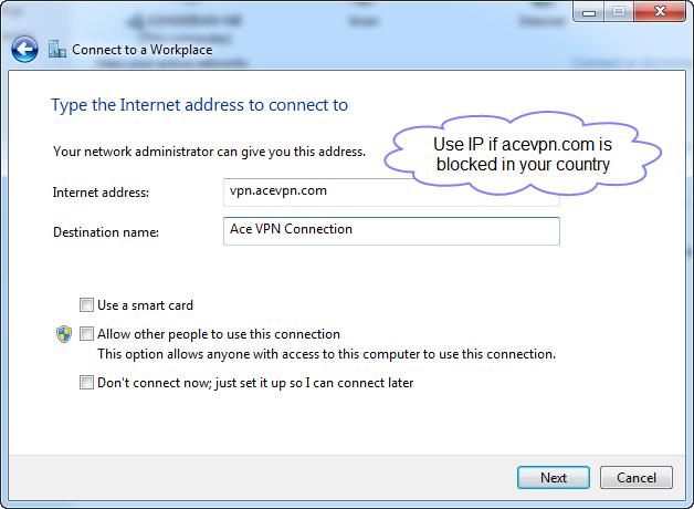 Step 4 - Ace PPTP VPN - Type the Internet address