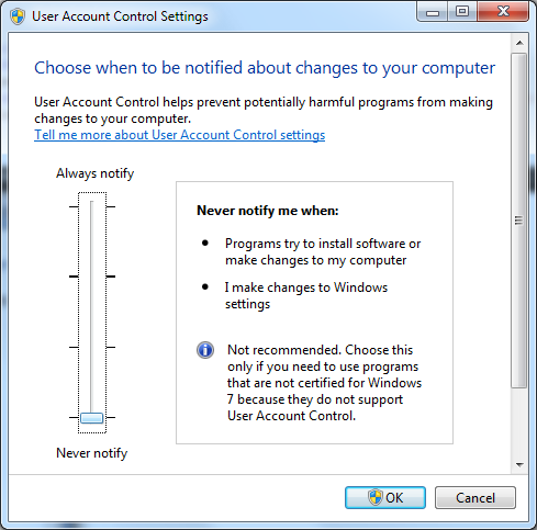 Windows 7 UAC Settings