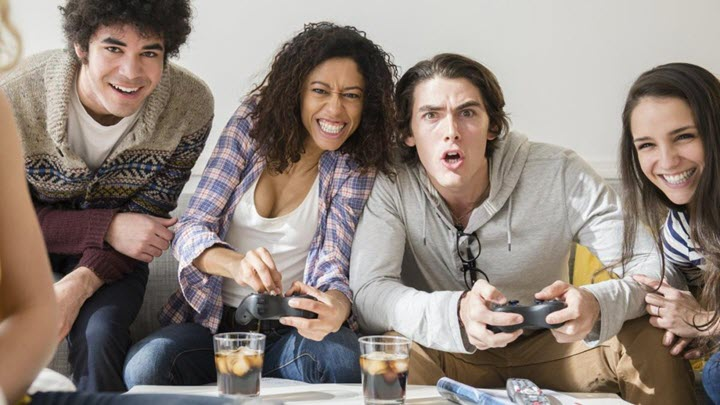 People playing video games