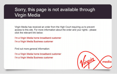 Sorry this page is not available through Virgin Media