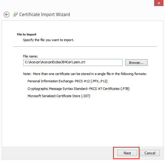 Choose certificate to import
