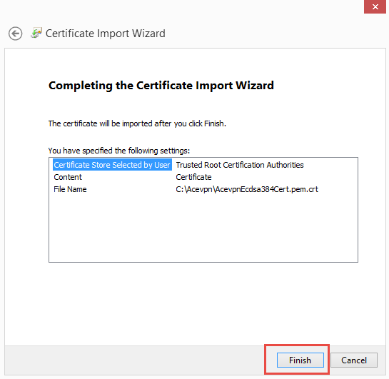 Complete certificate import