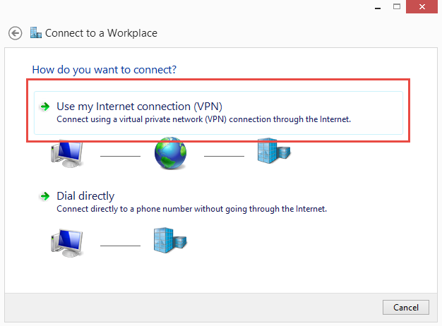 Use my Internet connection or VPN