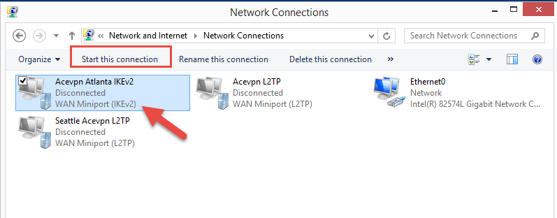 Start VPN connection
