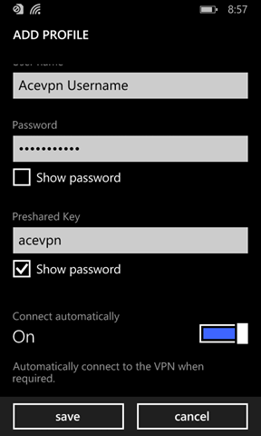 Input Username and Password