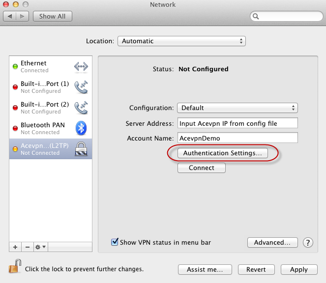 Mac L2TP VPN - Input IP address and choose Authentication Settings