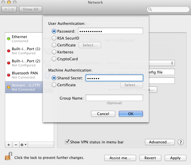 Mac L2TP VPN - Input Acevpn Password and L2TP secret