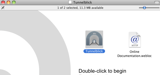 Double click to begin Tunnelblick Installation