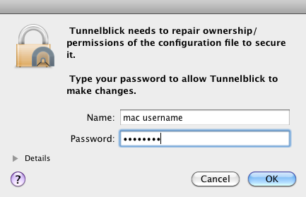 Enter Mac username and password to repair permissions