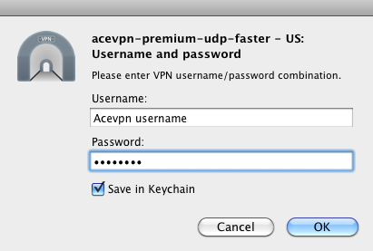 Enter Acevpn username and password