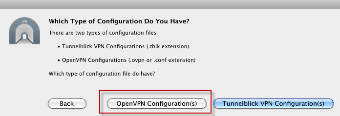 Choose OpenVPN Configuration(s)