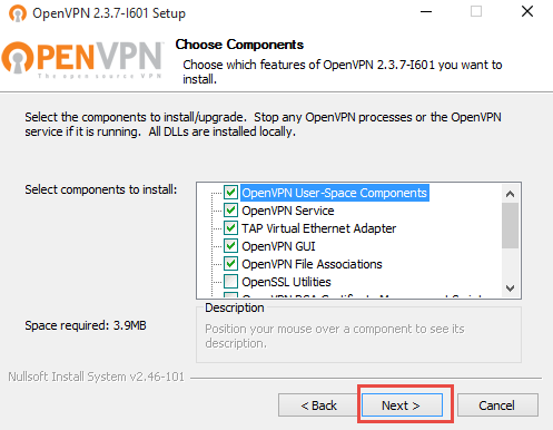 OpenVPN Choose Components