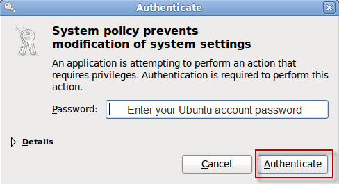 Enter Ubuntu Account Password