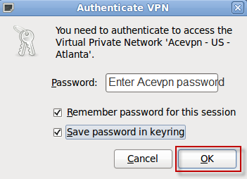 Enter Acevpn Password