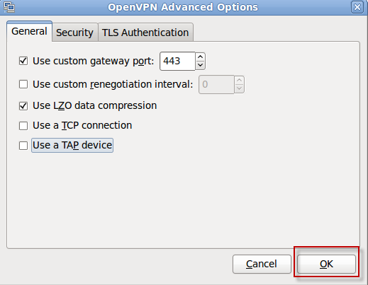 Openvpn Advanced Options