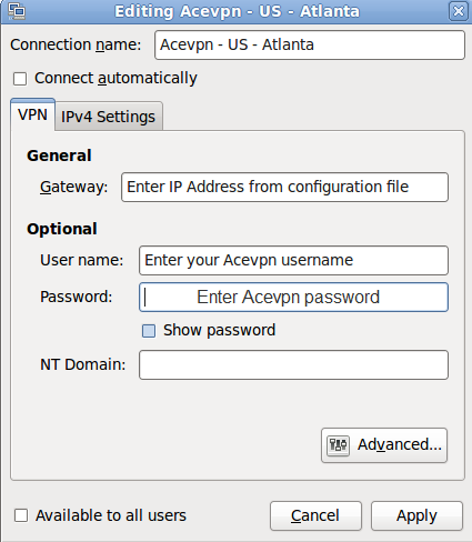 Input Acevpn connection details