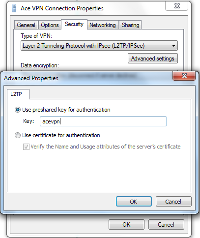 Step 2 - Ace L2TP VPN - Security Properties - Advanced - Troubleshooting