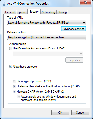 Step 1 - Ace L2TP VPN - Security Properties Troubleshooting