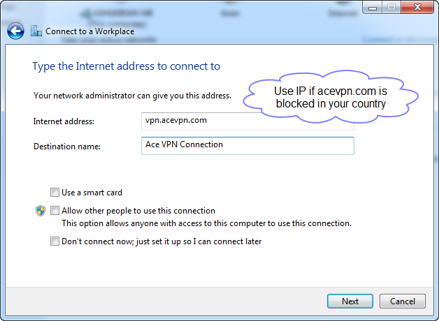 Step 4 - Ace L2TP VPN - Type the Internet address