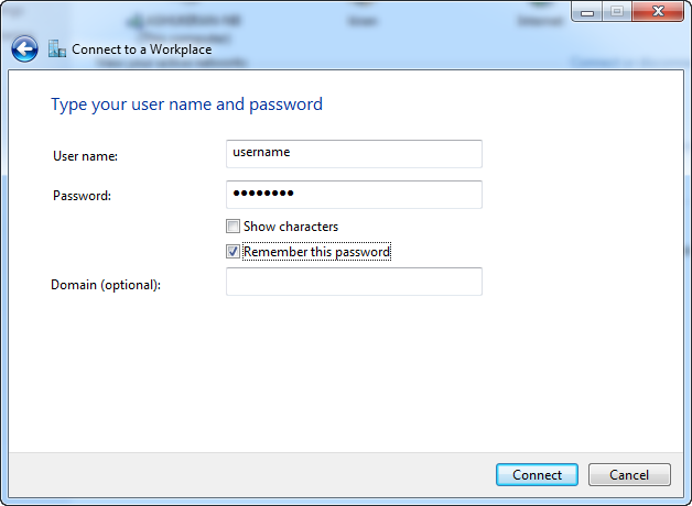 Step 5 - Ace L2TP VPN - Type username and password