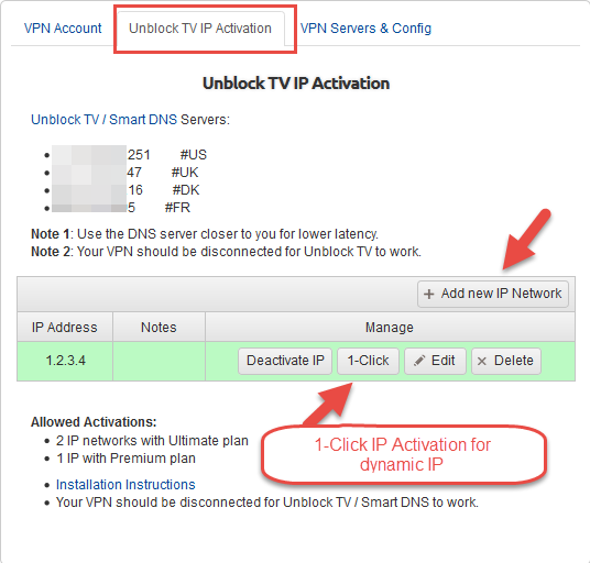 1-Click IP Activation for Dynamic IP