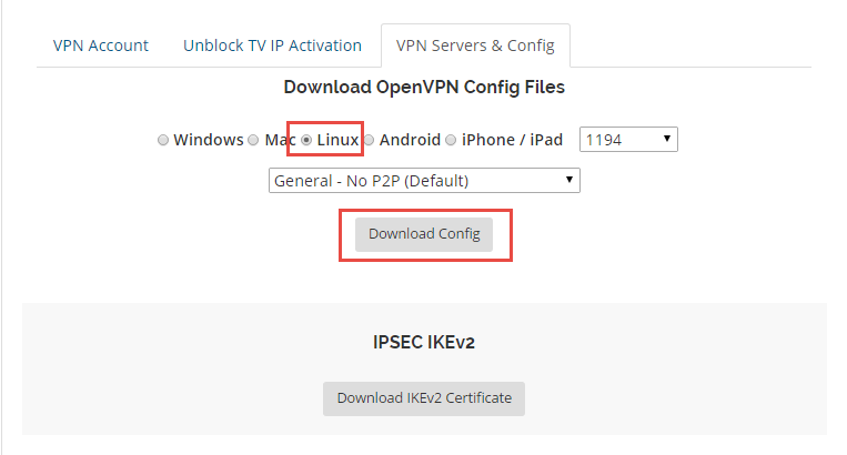 Download OpenVPN config and certificate for routers